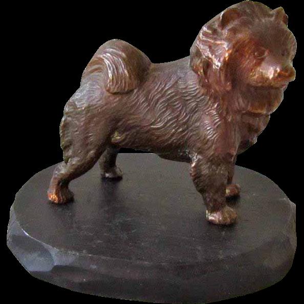 Handsome Vintage Bronze/Copper Chow Dog Signed