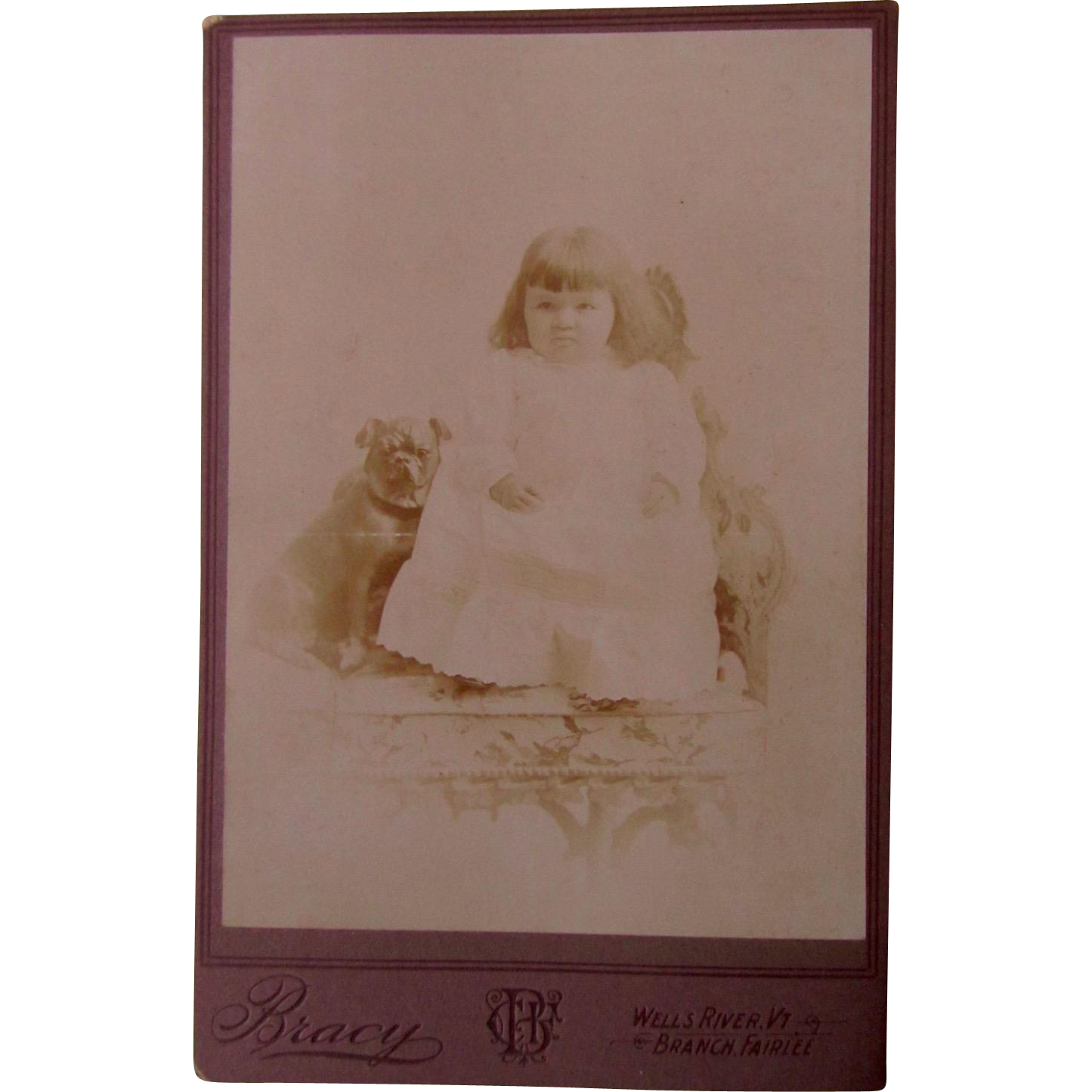 Antique Cabinet Card Photo Pug Dog And Child