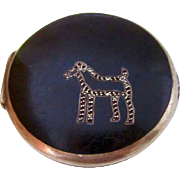 Sterling and Enamel Birks Compact w/Terrier Dog