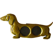 Vintage Brass Photo Holder Figural Dachshund