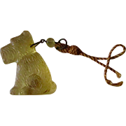 Vintage Figural Glass Shade Pull Scotty Dog