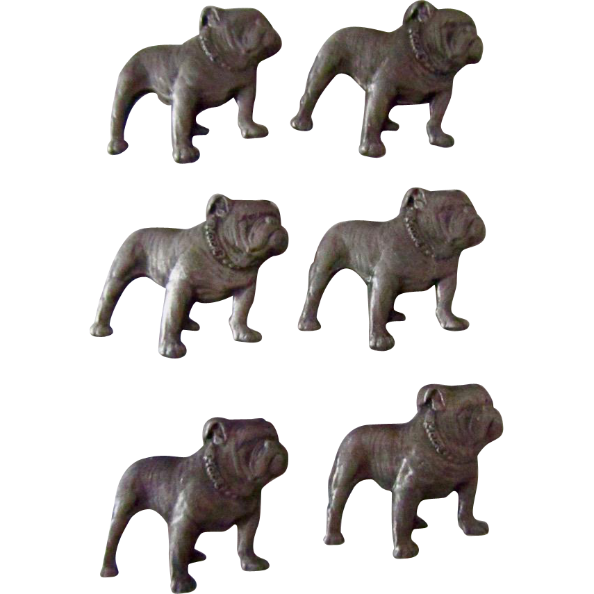 Set Of Six Pewter Mack Bulldogs