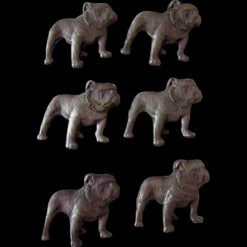 Set Of Six Pewter Mack Bulldogs
