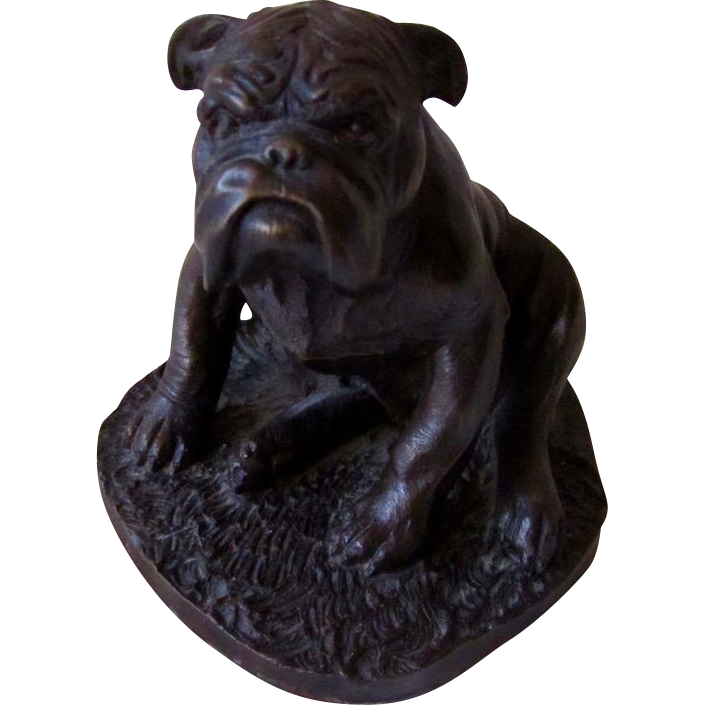 Vintage Heredities Bronze Resin Bulldog