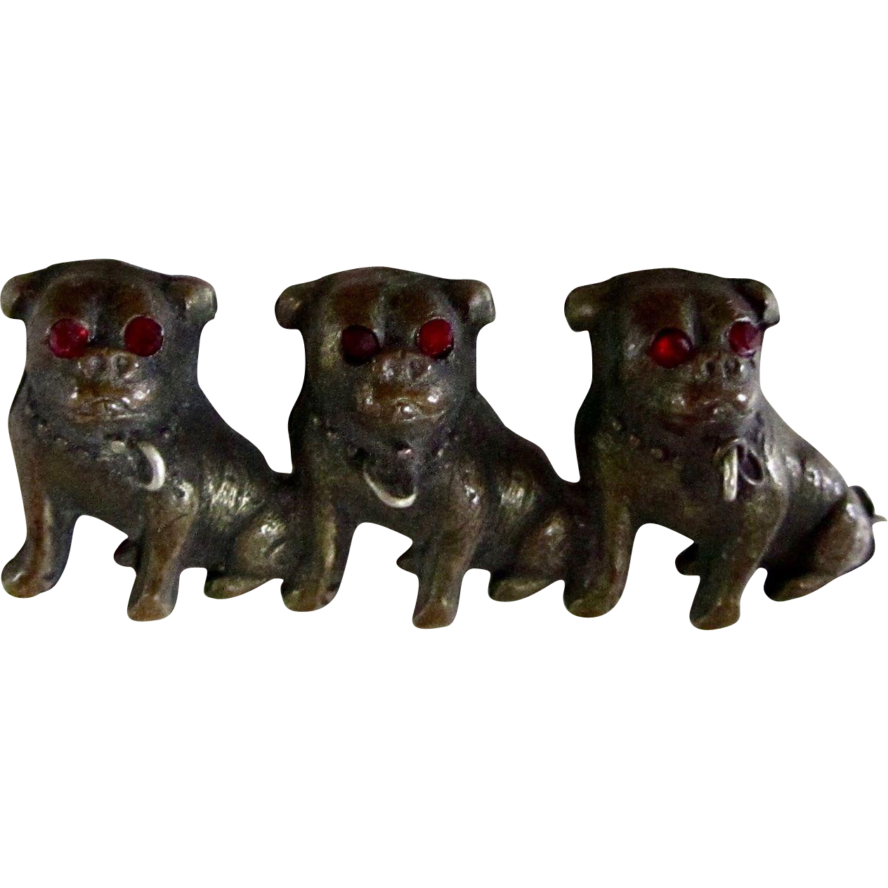 Antique Victorian Three Pugs/Bulldogs Brass Pin