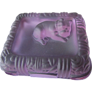 Lovely Deco Alexandrite Glass Ring Tray w/French Bulldog