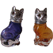 Vintage Czech Glass Cat Salt and Pepper Shakers