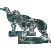 Vintage Viking Glass Borzoi Dog Bookends w/Label