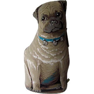 Vintage Rag Doll Pug Stuffed Doorstop Toy Works