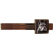 Vintage Signed Boxer Dog Tie Bar Sterling and Gold Tone