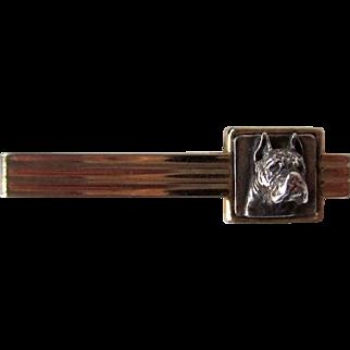Vintage Signed Boxer Dog Tie Bar Sterling and Gold Tone