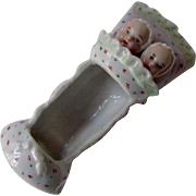 Antique Porcelain Twin Babies In Bed