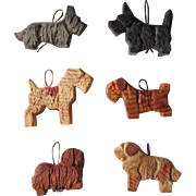Set of Six Vintage Wood Carved Anri Dogs