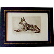 Vintage Small Signed Print of German Shepherd Dog