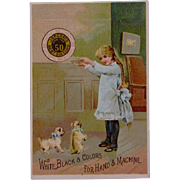 C.1887 Trade Card Coats Thread w/Pug Dogs - Red Tag Sale Item