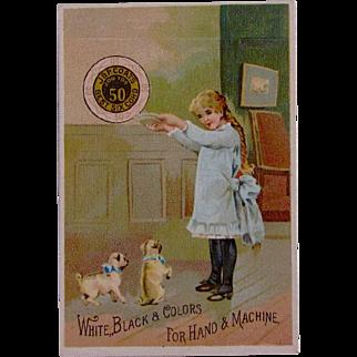 C.1887 Trade Card Coats Thread w/Pug Dogs