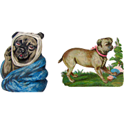 Pair Small Antique Diecuts Pug Dogs