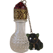 Rare Czech Glass Irice Perfume Bottle w/French Bulldog Charm Vintage