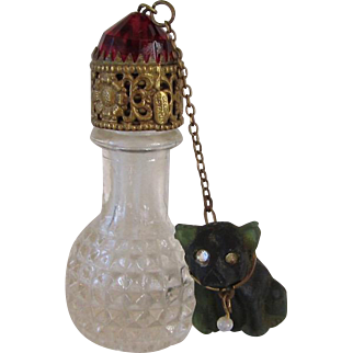 Rare Czech Glass Irice Perfume Bottle w/French Bulldog Charm Vintage