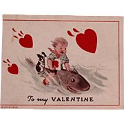 C.1939 Mechanical Valentine w/Boston Terrier Dog