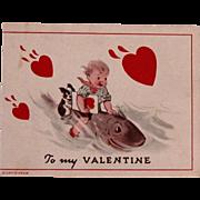 C.1939 Mechanical Valentine w/Boston Terrier Dog