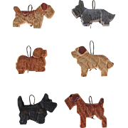 Vintage Set Six Anri Miniature Dog Ornaments WWII