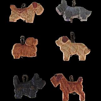 Vintage Set Six Anri Miniature Dog Ornaments WWII