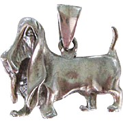Solid Sterling Silver Pendant Basset Hound Dog