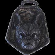 Vintage Pewter Fob French Bulldog
