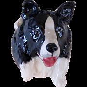 Porcelain Border Collie Face Pot By Kevin Francis