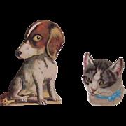 Victorian Dachshund With Cat Die Cut Scraps