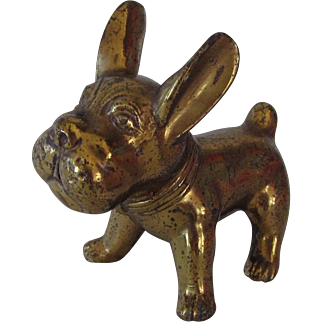 Vintage Animated Brass French Bulldog