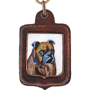 Vintage Painting On Porcelain Bulldog Key Chain
