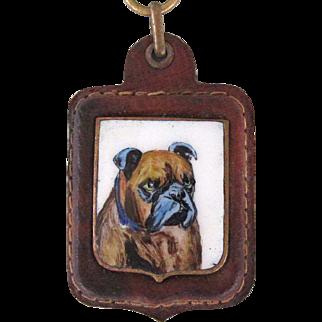 Vintage Painting On Porcelain Bulldog Key Chain
