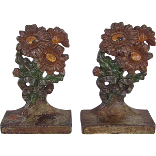 Rare Hubley Iron Painted Flower Bookends Nursery