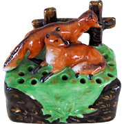 Staffordshire Stick Pin Holder With Foxes Antique