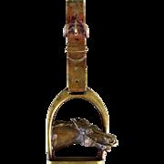 Solid Bronze Antique Door Knocker Horse & Stirrup