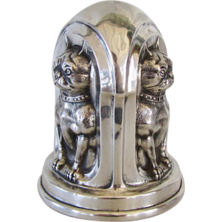 Rare Antique Sterling Silver Boston Terrier Bank