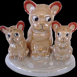 Lustreware French Bulldog/Boston Terrier Condiment Set
