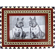 Antique Inlaid Framed Print French Bulldogs