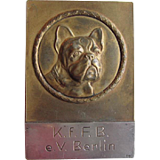 Rare Bronze & Silver French Bulldog Medal/Medallion Award Paperweight C.1930