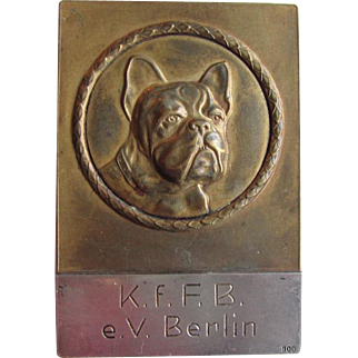 Rare Bronze & Silver French Bulldog Medal/Medallion Award Paperweight C.1930