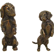 Vintage Metal Pair Dachshund Dogs Souvenirs