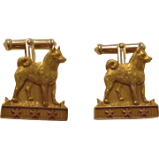 10 KT Gold Pair Husky Cufflinks Three Stars