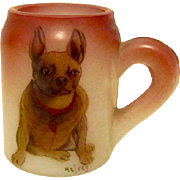 Rare Antique Handel Glass Match Holder French Bulldog