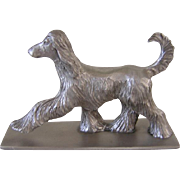 Vintage Pewter Signed Afghan Hound Dog 1978