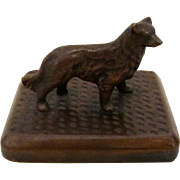 Vintage Solid Bronze Collie/Sheltie Dog On Plinth