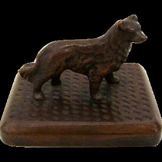 Vintage Solid Bronze Collie/Sheltie Dog On Plinth