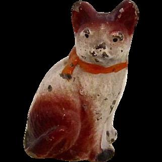 Vintage Dollhouse Painted Cat Potmetal
