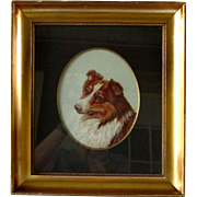 Antique Wool Embroidery Portrait Framed Collie Dog Signed C.1910